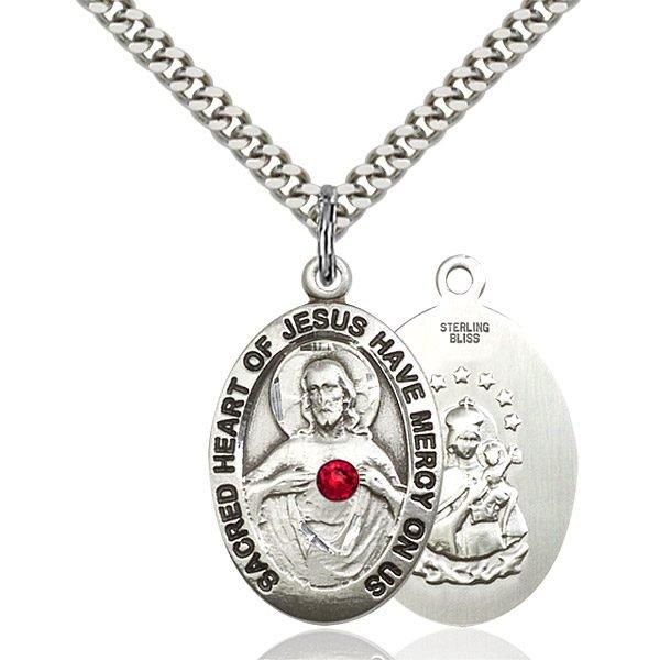 Scapular Pendant - July Birthstone - Sterling Silver #88779