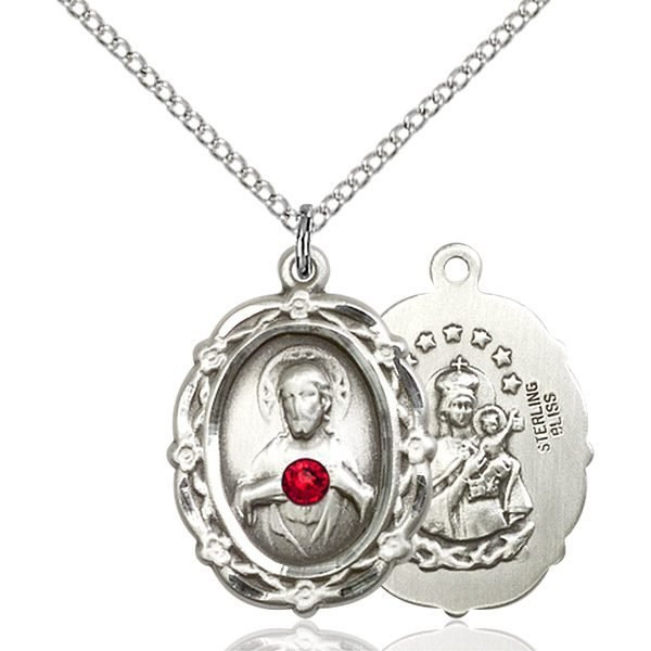 Scapular Pendant - July Birthstone - Sterling Silver #88788
