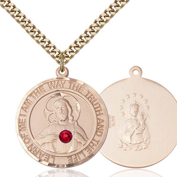 Scapular Pendant - July Birthstone - Gold Filled #89661