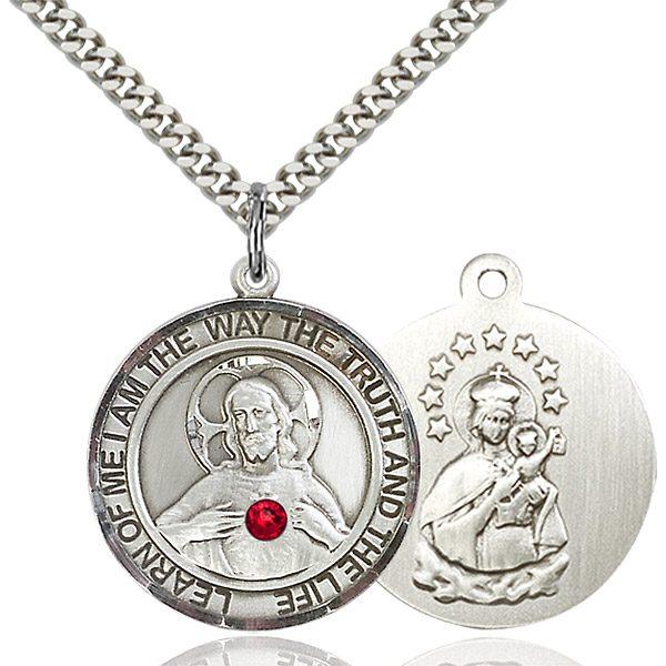 Scapular Pendant - July Birthstone - Sterling Silver #89663