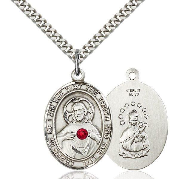 Scapular Pendant - July Birthstone - Sterling Silver #89664