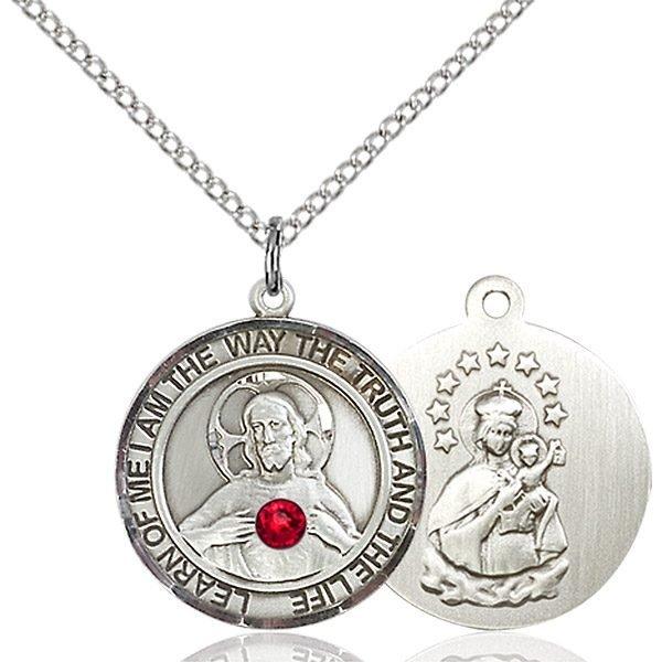 Scapular Pendant - July Birthstone - Sterling Silver #89669
