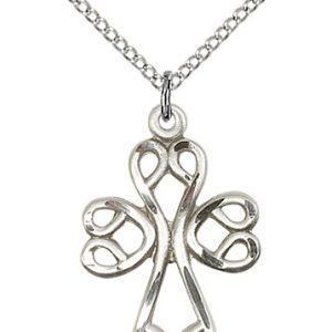 Sterling Silver Scroll Cross Necklace #87895