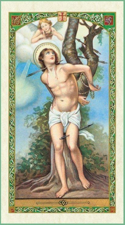 St Sebastian Holy Card