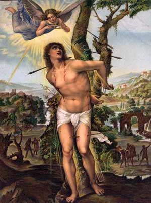 Saint Sebastian and an Angel with a crown