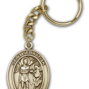 Antique Gold St Sebastian Keychain