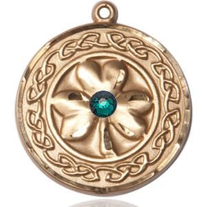 Shamrock - Celtic Border Medal - May Birthstone - 14 KT Gold #88862