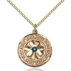 Shamrock - Celtic Border Pendant - May Birthstone - Gold Filled #88861