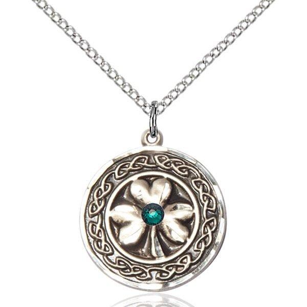 Shamrock - Celtic Border Pendant - May Birthstone - Sterling Silver #88863