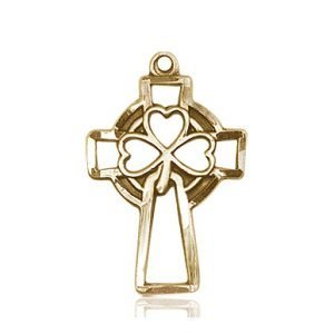 14kt Gold Shamrock Cross Medal #87898
