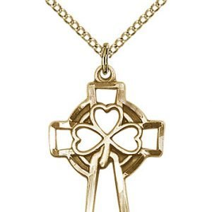 Gold Filled Shamrock Cross Necklace #87896
