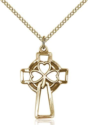 Gold Filled Shamrock Cross Necklace #87896