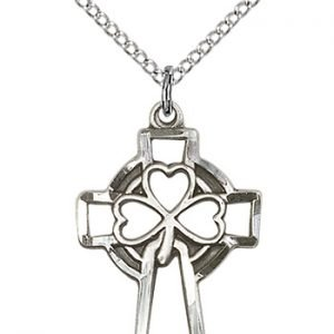 Sterling Silver Shamrock Cross Necklace #87899