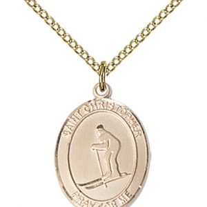 Gold Filled St. Christopher / Skiing Pendant