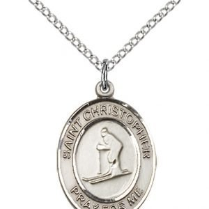Sterling Silver St. Christopher / Skiing Pendant