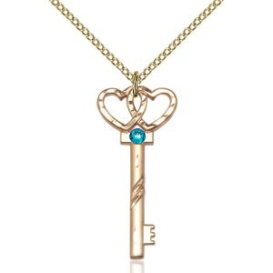 Small Key - Double Hearts Pendant - December Birthstone - Gold Filled #89626