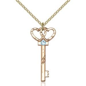 Small Key - Double Hearts Pendant - March Birthstone - Gold Filled #89628