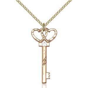 Small Key - Double Hearts Pendant - April Birthstone - Gold Filled #89629