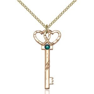 Small Key - Double Hearts Pendant - May Birthstone - Gold Filled #89630