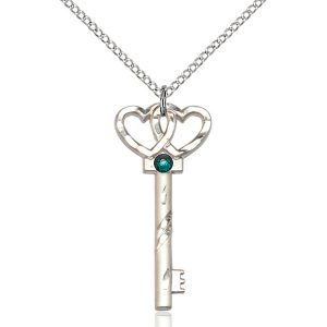 Small Key - Double Hearts Pendant - May Birthstone - Sterling Silver #89654