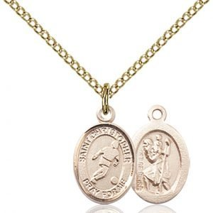 Gold Filled St. Christopher/Soccer Pendant