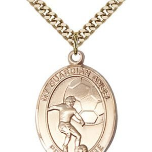 Gold Filled Guardian Angel/Soccer Pendant