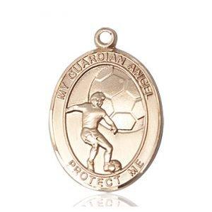 14kt Gold Guardian Angel/Soccer Medal