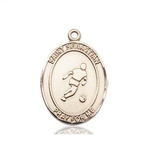 14kt Gold St. Sebastian/Soccer Medal