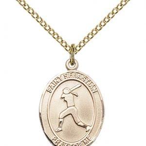 Gold Filled St. Sebastian / Softball Pendant