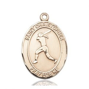 14kt Gold St. Christopher/Softball Medal