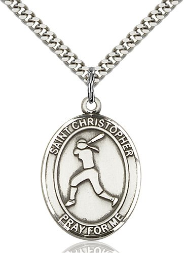Sterling Silver St. Christopher/Softball Pendant
