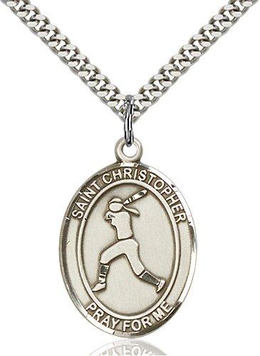 Sterling Silver St. Sebastian / Softball Pendant