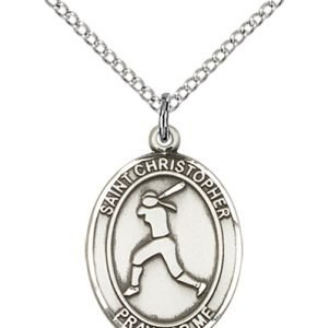 Sterling Silver St. Christopher/Softball Pendant