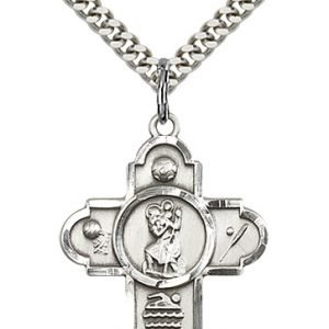 Sterling Silver 5-Way St Christopher/Sports Pendant