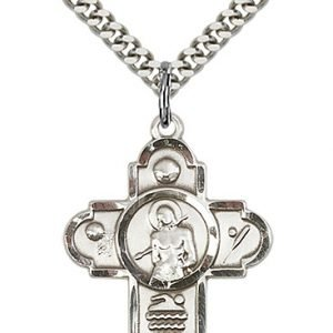 Sterling Silver 5-Way St Sebastian/Sports Pendant