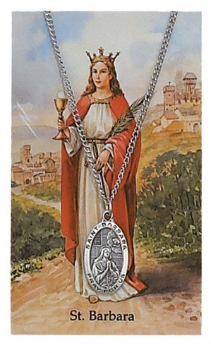 St. Barbara Pendant and Prayer Card Set
