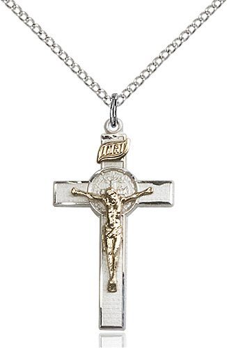 Two-Tone GF - SS St. Benedict Crucifix Necklace #87553
