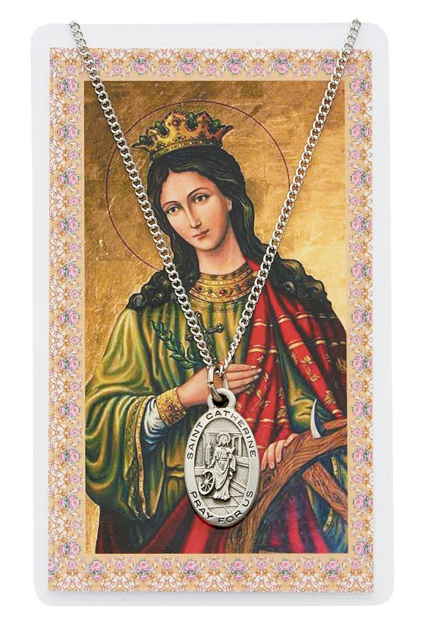St Catherine of Alexandria Pendant and Prayer Card Set