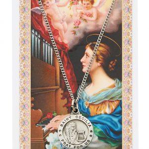 St Cecilia Pendant and Prayer Card Set
