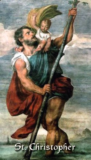 St Christopher Carrying the Chris Child across the River as depicted on a Holy Card