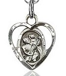 St. Christopher Heart Shaped Charm - Sterling Silver  (#84440)