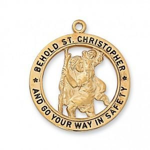 St Christopher Medal With Open Back in Gold Plated Sterling Silver