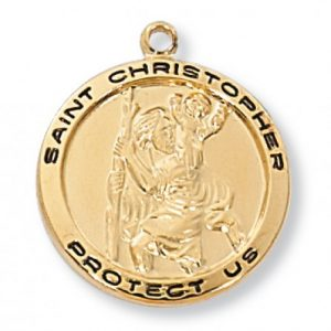 St. Christopher Medal in Gold Plated Sterling Silver