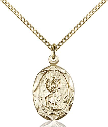 14kt Gold Filled St Christopher Pendant with 18 Gold Filled Lite Curb Chain Patron Saint of Travelers//Motorists