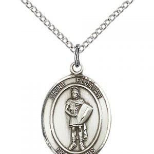 St. Florian with Emt Back Medal - Sterling Silver with 20 in. Chain (#81193)
