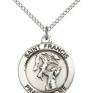 St. Francis Medal - Sterling Silver - Medium