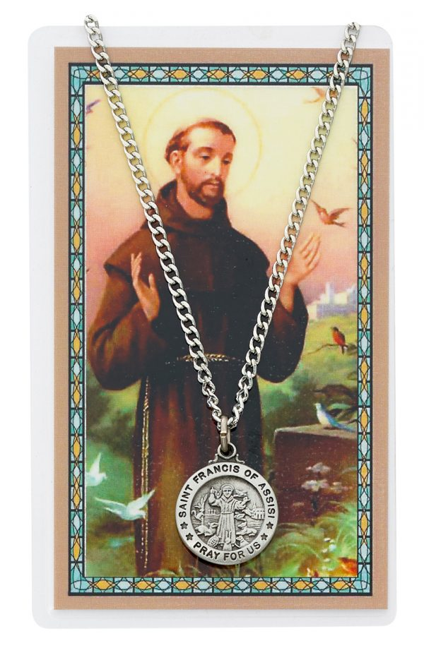 St Francis Pendant and Prayer Card Set