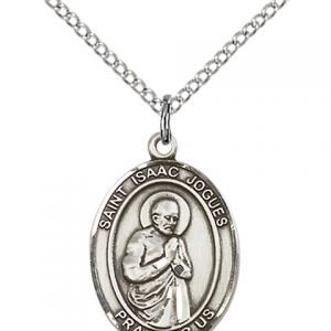 St. Isaac Jogues Medal - Sterling Silver with 18 in. Chain - Engravable (#81254)