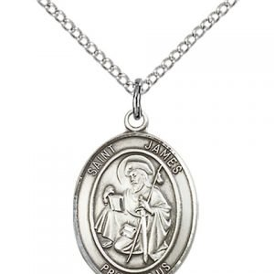 St James Medal - Sterling Silver with 18 in. Chain - Engravable