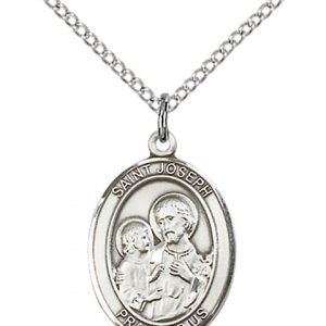 St Joseph Medal - Sterling Silver with 18 in. Chain - Engravable